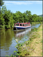 Cobbydale on the canal. (Country Girl 76) Tags: cobbydale boat excursions trips visitors canal leeds liverpool skipton north yorkshire water reflections bank summer flowers trees blue sky