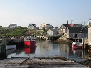 Evening sunlight, houses and inlet, Peggy's Cove, Nova Scotia
