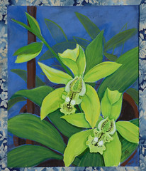 Green Orchids 2 (M.P.N.texan) Tags: plant orchid orchids flower flowers flopwering bloom blooming blooms paint painting acrylic acrylics botanical handpainted original mpn