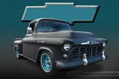 Black&Teal - 1956 Custom Chevy Pickup (Brad Harding Photography) Tags: 1956 56 chevy chevrolet customized antique truck pickup pickuptruck utility bowtie classic vintage restoration restored black teal desoto kansas carshow