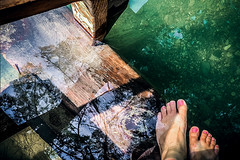 Let's get in and have fun (Melissa Maples) Tags: göynük turkey türkiye asia 土耳其 apple iphone iphonex cameraphone summer qualistavillage reflection ladder river water me melissa maples selfportrait woman barefoot feet