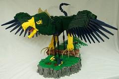 Gaze of the Cockatrice (Better Quality) (Saberscorpsr's LEGO Space) Tags: lego moc saberscorpsr cockatrice monster monstrous bird avian wing design sculpture mythology mythological creature giant eagle brickvention 2017