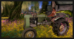 She thinks his tractor's sexy : ) (stormyseas11) Tags: tractor sl secondlife virtual storybrooke whimsical stormyseas trees lights