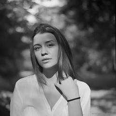 Alexandra (Analogsquare) Tags: hasselblad 500cm carl zeiss planar 8028 agfa apx 100 expired film analog selfdeveloped atomal a49 blackandwhite monochrome portrait medium format bokeh dof beauty woman young female outdoors