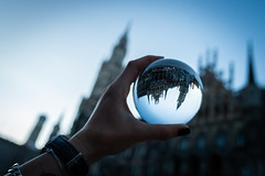 Munich Marienplatz in a lensball at the blue hour (Benjamin Ballande) Tags: munich marienplatz lensball blue hour