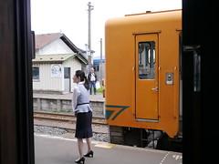 The cheerful attendant (しまむー) Tags: panasonic lumix gx1 g 20mm f17 asph natural train tsugaru free pass 津軽フリーパス