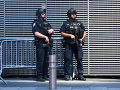 Times Square Police (Multielvi) Tags: new york city ny nyc manhattan times square police cops riot gear security rifle automatic candid