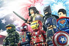 HAPPY 4th of JULY!! - 2018 (MGF Customs/Reviews) Tags: lego marvel dc super heroes avengers justice league halo captain america iron man spiderman batman superman wonder woman master chief robert downey jr chris evans tom holland ben affleck gal gadot henry cavill custom minifigure figure