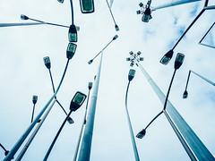 cluster (miemo) Tags: basquecountry bilbao bilbo abstract em5mkii europe installation lamppost lamps olympus olympus1240mmf28 omd sky spain spring street streetlights travel euskadi es