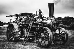 Weald of Kent Steam Rally (aquanout) Tags: blackandwhite monochrome steam traction engine clouds sky grass