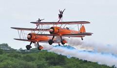 SE-BOG (1) and N74189 (2) (goweravig) Tags: sebog n74189 swanseaairport wnas18 visiting aircraft 1 2 boeing stearman kaydet biplane aerosuperbatics wingwalkers swansea wales uk