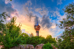 Rapunzel's Tower | Fantasyland (Pandry 2015) Tags: tower rapunzel canonusa canon6d clouds sunsetlight tangled sunset colors flickr florida orlando fantasyland magickingdom themeparks disneyparks disneyland disney waltdisneyworld wdw