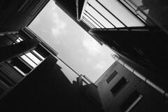 Gazing (Thomas Listl) Tags: thomaslistl blackandwhite biancoenegro noiretblanc architecture vanishing 50mm building urban dark mood atmosphere windows light shadows highcontrast würzburg sky clouds gaze gutter silver