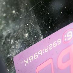 Sun Through the Windscreen (arcticbramble) Tags: macromondays transportation easypark tarra sticker tuulilasi windscreen aurinko sun naarmu scratch lika dirt pinkki pink auto car