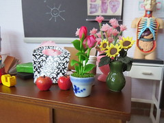 4. Teacher gifts (Foxy Belle) Tags: school classroom science biology barbie diorama desk 16 scale brick walls playscale ooak scene doll dollhouse last day