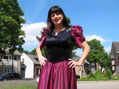 Smile (Paula Satijn) Tags: dress skirt girl lady elegant classy sun sunshine outside gown smile happy joy sweet red burgundy metallic shiny satin silky