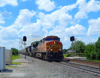 BNSF led autorack near Brimfield Indiana