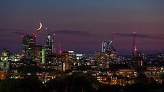 London never sleeps (Wladows) Tags: night sky moon architecture london sunset places