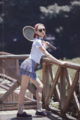 Emmy (Yuri Figuenick) Tags: tennis portrait pinup girl woman fashion racket retro vintage red sexy model pose sport canon eos 5d mark3 135mm