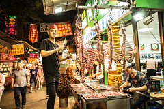 Happy to meat you! (Phg Voyager) Tags: meat food street foodstreet xian muslin skeletton cheap knife cut bones butcher boy boys smile happy color outdoor night sticks bbq grill china leica mp summilux 24mm phgvoyager photography