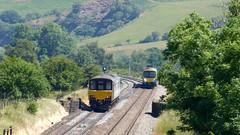 Trains cross in Edale (Steel Rails) Tags: edale derbyshire peak district hope valley line railway train diesel