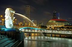 Singapore (meren34) Tags: singapore merlin night water sea sky sand skyscraper photography city sauth port light view