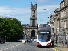 Lothian 701 picks up passengers in Howe Street, Edinburgh. (calderwoodroy) Tags: saintstephen'sstockbridge eclipsegemini wrightbus b7tl volvo sn55bjx 701 service29 edinburghtransport transportforedinburgh lothianbuses doubledecker bus howestreet newtown edinburgh scotland