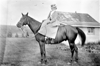 Evelyn Cochrane (?) at Little Bow Cattle Co. Ranch