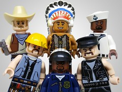 Macho Men (Kadigan Photography) Tags: lego minifigures villagepeople cowboy indian navy construction cop leather music