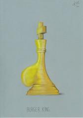 Burger king. (Klaas van den Burg) Tags: belly yellow brown white pencil humor sarcasm bluepaper