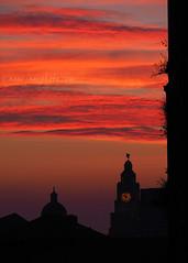 Pier Head Sunset (.annajane) Tags: sunset cloud orange liverbuilding portofliverpoolbuilding silhouette clock mannisland liverpool uk england merseyside red sky