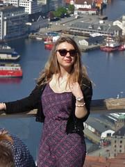 The View from Mt Fløyen (m_artijn) Tags: bergen mount fløyen norway girl sea city dress gorgeous