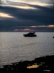 Sunset Strip, San Antonio, Ibiza, Spain. (CWhatPhotos) Tags: cwhatphotos photographs photograph pics pictures pic picture image images foto fotos photography artistic that have which contain olympus camera holiday holidays hols hol june 2018 ibizan ibiza san antonio bay june2018 spain clouds sea waters water silhouette boat boats sun cloudy cloud sunset going down horizon strip sunsetstrip sanantonio orange yellow skies sky