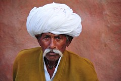 India- Rajasthan- near Jodhpur (venturidonatella) Tags: india asia rajasthan jodhpur bishnoi portrait ritratto people persone gentes nikon nikond300 d300 colori colors turbante hat baffi sguardo look emozioni uomo man bishnoivillage headgear copricapo turban moustache