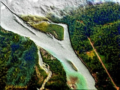 Aerial view of Alaskan landscape (Jill Rowland) Tags: aerialview landscape river alaska forest canonphoto abstract abstractart manipulatedphoto