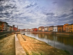 Riverside in Pisa (matteoleoni1) Tags: pisa river arno fiume sky cloud nopeople skyline cityscape toscana city history travel day best experience tourism beach playa ciudad citybeach break stop cloudy summertime summer canon