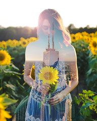 All in ME (seekerofeast) Tags: building city land girl lady woman model portrait sky nature sun sunlight hair photoshop adobe golden country county farm fields field blue