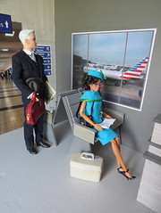 8. Another morning passenger (Foxy Belle) Tags: doll katherine johnson made move rebodied redressed science nasa celebrity dollhouse miniature diorama airport work barbie uniform vintage gray american airlines business madmen roger sterling silkstone forggy stuff playscale ooak 16 scale 1960s