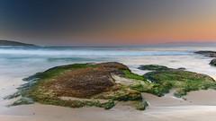 Sunset Seascape and Rock Ledge (Merrillie) Tags: sand landscape sunset seashore nature swansea newsouthwales waves nsw beach ocean lakemacquarie sea bay coastal seascape natural waterscape catherinehillbay coast australia seaside