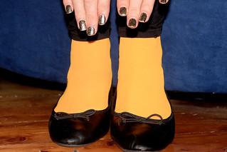 Orange Tights, Ballet Flats, and Nails