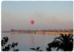 Magical Places and Things - Egypt- The Nile (4) (The Spirit of the World ( On and Off)) Tags: river nile thenile luxor egypt africa middleeast palms riverbanks sand desert water waterscape famousriver balloon reflection sihgtseeing