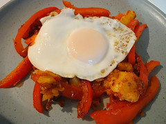 Eggs with Bell Peppers and 'Nduja (ljstubbs) Tags: nduja brunch dianahenry dinner eggs food oliveoil onion recipe redbellpeppers saltandpepper simple