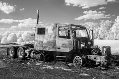 Burned-out Truck IR (Neal3K) Tags: burnedtruck burned semitruck henrycountyga georgia ir infraredcamera kolarivisionmodifiedcamera