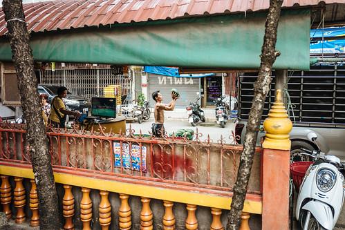 Market scene, watermelon man, Chiang Mai, Thailand