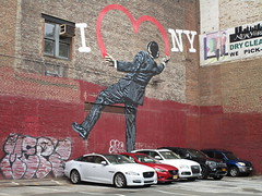 I Love NY or I Heart NY Graffiti Mural Art 2018 NYC 5321 (Brechtbug) Tags: i love ny street art graffiti by nick walker midtown west side manhattan broadway 2018 nyc july 07152018 new york city parking lot heart painting wall man back view derby hat striped suit balancing one foot artist ukbased called vandal 17th 6th ave avenue st
