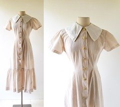 1930s Villette day dress, from Toni Peters (Small Earth Vintage) Tags: smallearthvintage vintagefashion vintageclothing dress 1930s 30s tan tonipeters daydress