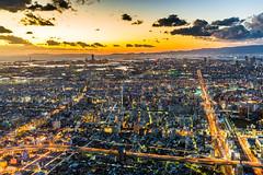 Osaka Bay (davidcl0nel) Tags: 2017 canon5dmarkiii canon 35mm ef35f2isusm osaka water bay japan night streets city skyline sunset dark bluehour