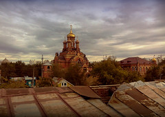 Gold and Rust (DementyD) Tags: temple church sky clouds ruins astrakhan