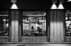 Old City (bruscwillis) Tags: hp5 iso1600 ei1600 ei 1600 xtol stock 8 min nikon f100 35mm film monochrome blackwhite bw street bucharest old city restaurant closing time man wall window grain push