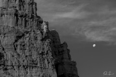 Volando a la luna....Flying to the moon (Paio S.) Tags: free air white nature luna moon sky sunset red landscape rock castle flying bird balance canon wb blackwhite